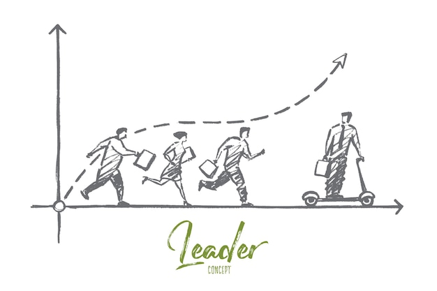 Schizzo di concetto di leader disegnato a mano.
