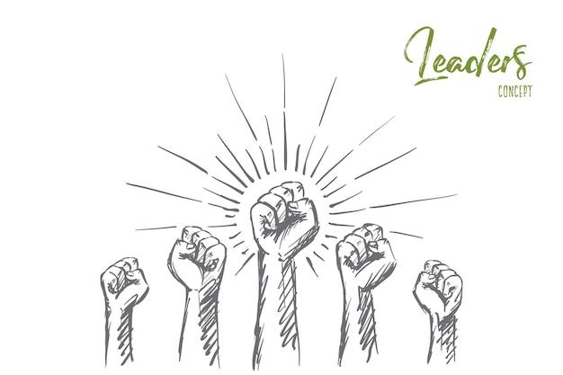 Schizzo di concetto di leader disegnati a mano