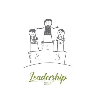 Schizzo di concetto di leadership disegnato a mano