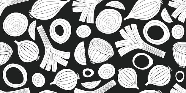 Modello senza cuciture di porro disegnato a mano. illustrazioni di verdure fresche del fumetto biologico
