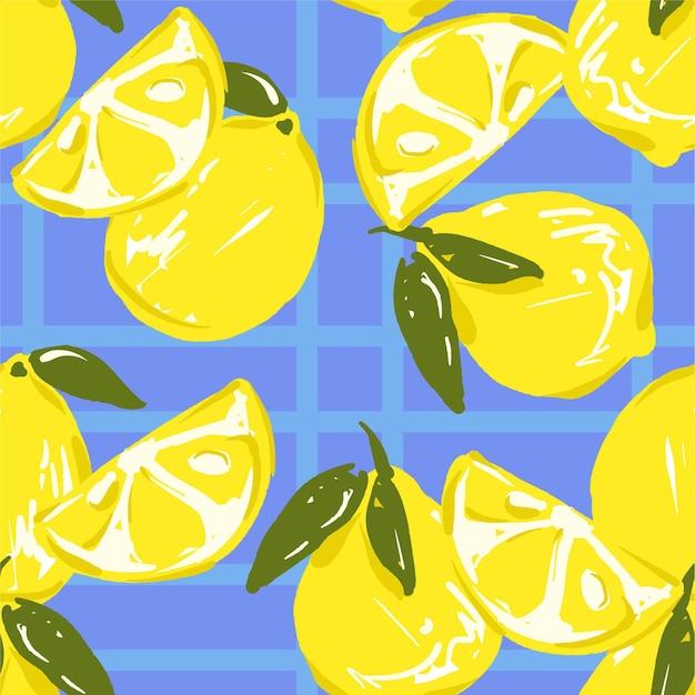 Modello di sfondo di limone disegnato a mano senza soluzione di continuità