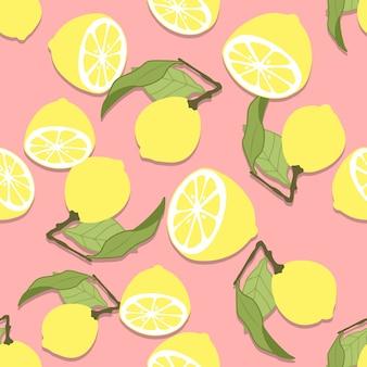 Modello senza cuciture di limone disegnato a mano