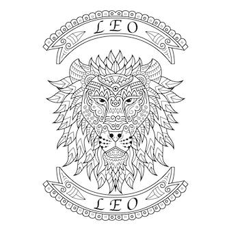 Disegnato a mano di leo in stile zentangle