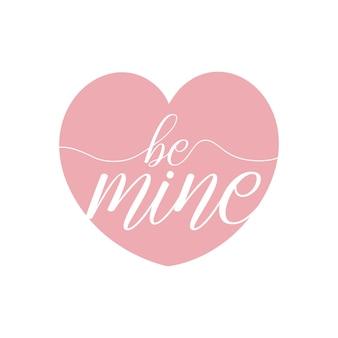 Lettere disegnate a mano essere miei messaggi con dettagli a forma di cuore rosa nel vettore gratuito