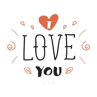 Iscrizione di lettere disegnate a mano con ti amo frase. progettazione di cartoline.