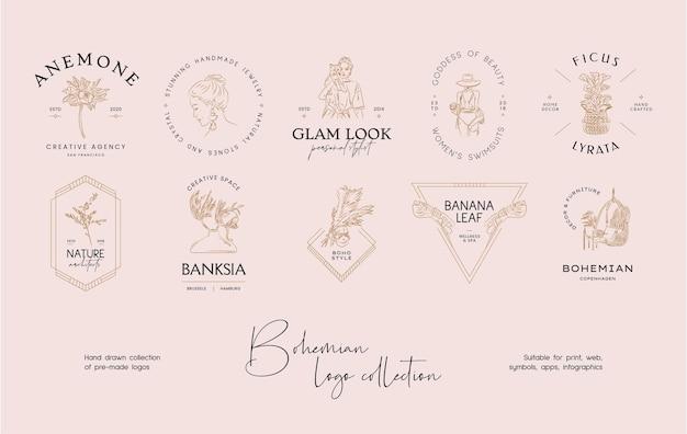 Collezione di modelli di progettazione di logo di vettore bohémien di arte linea disegnata a mano