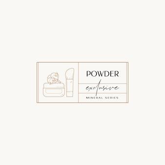 Linea disegnata a mano cosmetici vettore logo design modello illustrazione di eleganti segni e distintivi
