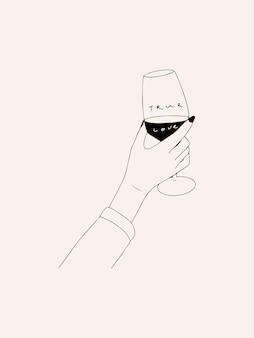 Illustrazione disegnata a mano di arte di linea con la mano di donna che dora un bicchiere di vittoria rossa il vero amore slogan vector