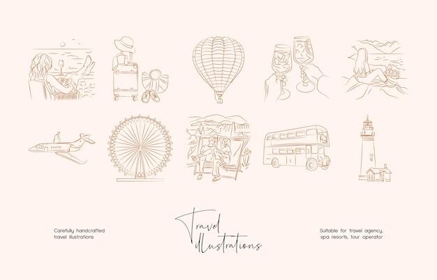 Collezione di illustrazioni vettoriali di viaggio minimo di arte di linea disegnata a mano
