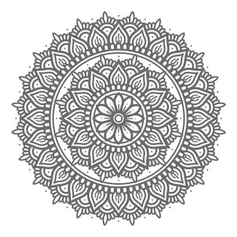 Linea arte disegnata a mano con mandala di concetto astratto e decorativo stile cerchio