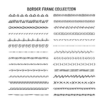 Linea disegnata a mano, bordo, set di elementi di design del telaio isolato su sfondo bianco