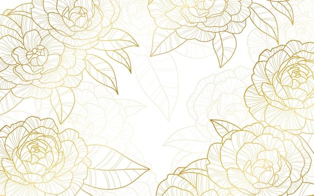 Sfondo floreale inciso lineare disegnato a mano