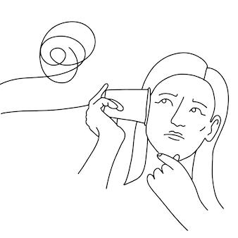 Illustrazione lineare disegnata a mano di tazze unite da una corda caotica per la comunicazione complessa psicologica...
