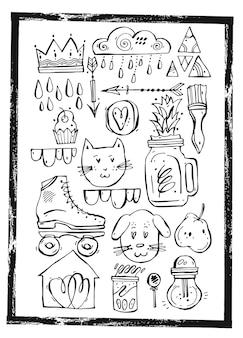 Set card foderato disegnato a mano
