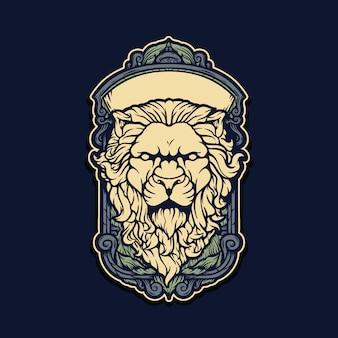 Testa di leone disegnata a mano illustrazione con cornice barocca