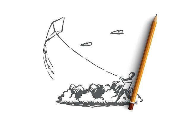 Ragazzino disegnato a mano corre aquilone nello schizzo del concetto di parco
