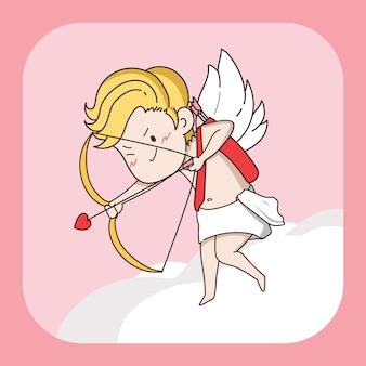 Carattere piccolo cupido disegnato a mano che spara la freccia del cuore.