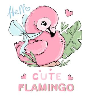 Fenicottero rosa piccolo carino disegnato a mano cute