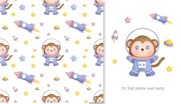 Piccola scimmia disegnata a mano nel modello senza cuciture galassia e biglietto di auguri per scrapbooking, carta da imballaggio, inviti.