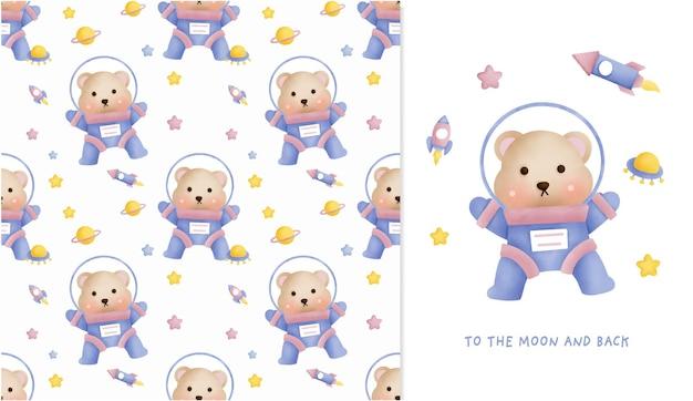 Disegnato a mano piccolo orsacchiotto nel modello senza cuciture galassia e biglietto di auguri per scrapbooking, carta da imballaggio, inviti.