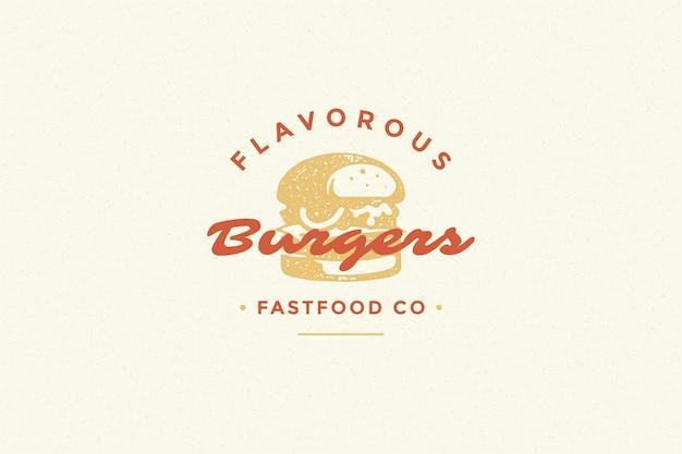 Siluetta disegnata a mano dell'hamburger di logo e retro illustrazione di vettore di stile di tipografia d'annata moderna.