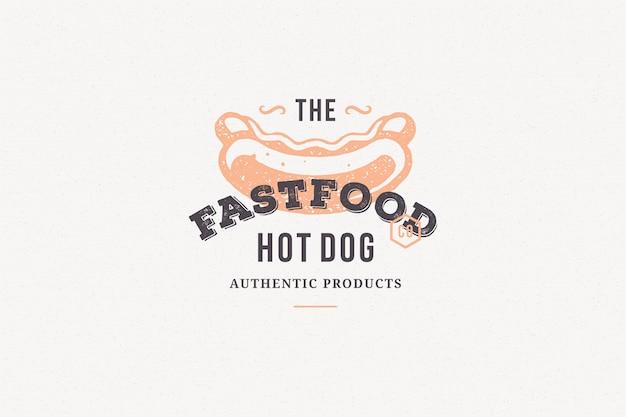 Siluetta disegnata a mano del hot dog di logo e retro illustrazione di vettore di stile di tipografia d'annata moderna.