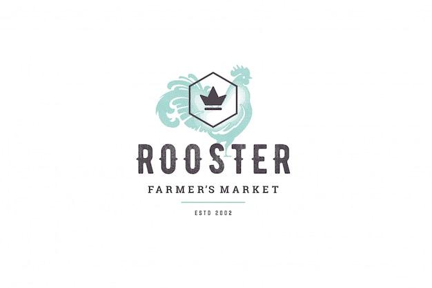 Siluetta disegnata a mano del gallo del pollame di logo e retro illustrazione di vettore di stile di tipografia vintage moderna.