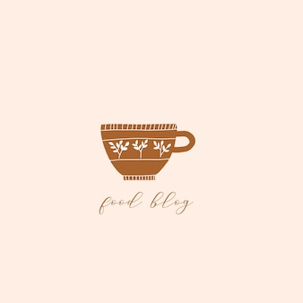 Modello di logo disegnato a mano con tazza da tè caffè e struttura floreale design per menu shop bar