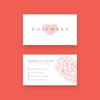 Disegnato a mano amore forma rosa logo design