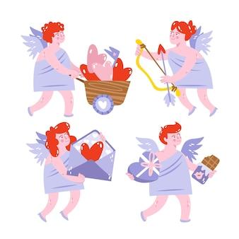 Set di adesivi amore disegnati a mano