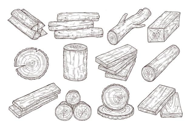 Legname disegnato a mano. disegna tronchi di legno, tronco e assi. rami di albero impilati, insieme di vettore dell'annata del materiale da costruzione forestale.