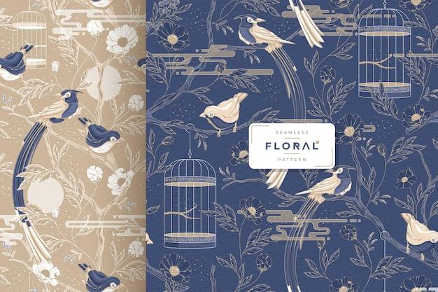 Uccelli di lusso disegnati a mano e motivo floreale senza soluzione di continuità