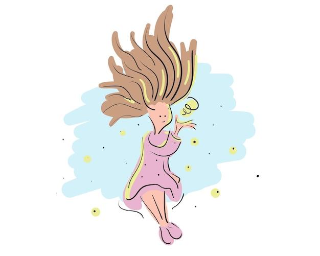 Ragazza magica disegnata a mano. divertenti cartoni animati per la stampa di vestiti per bambini o ragazzi o poster. illustrazione vettoriale.