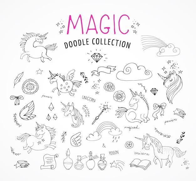 Doodles disegnati a mano, magia, unicorno e fata, schizzi