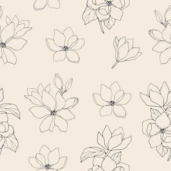 Reticolo senza giunte del fiore di magnolia disegnato a mano