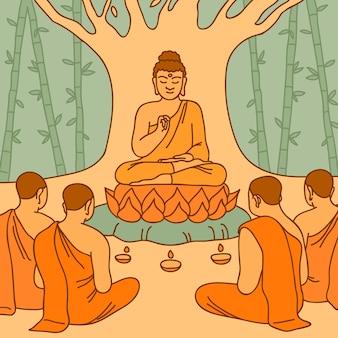 Illustrazione disegnata a mano di makha bucha day