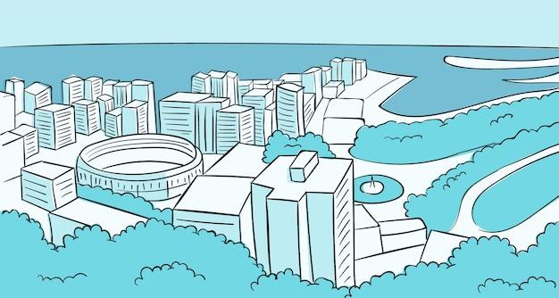 Skyline di malaga disegnato a mano