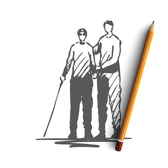 Uomo disegnato a mano con disabilità