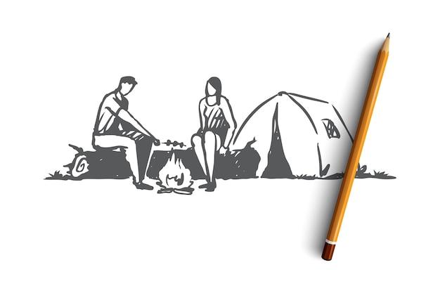 Tenda ordinata disegnata a mano della donna e dell'uomo nello schizzo di concetto del campo