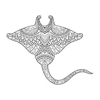Disegnato a mano di manta in stile zentangle