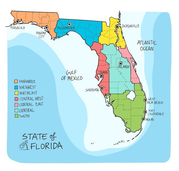 Mappa disegnata a mano della florida con regioni e contee