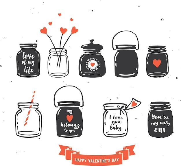 Collezione di barattoli di vetro disegnati a mano, citazioni d'amore