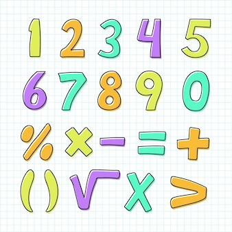 Simboli matematici disegnati a mano Vettore Premium