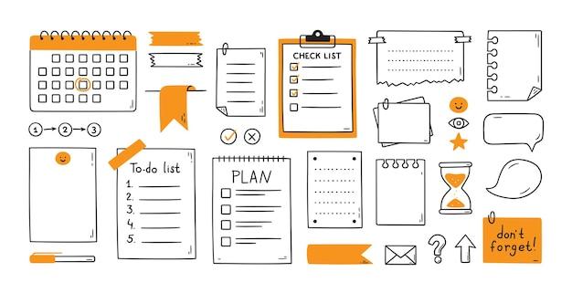 Fogli di carta per appunti disegnati a mano, nota adesiva, promemoria, lista delle cose da fare, calendario