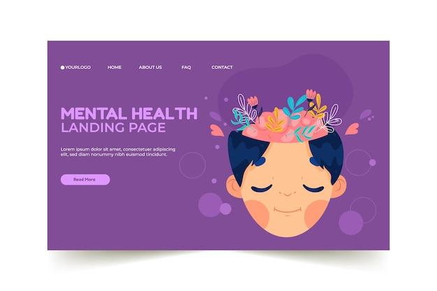 Modello di pagina di destinazione per la salute mentale disegnato a mano