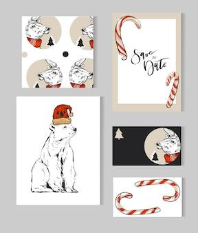 Collezione di modelli di biglietti di auguri di buon natale disegnati a mano con cervi, orso polare, alberi di natale, canne di cande e fase di calligrafia moderna.