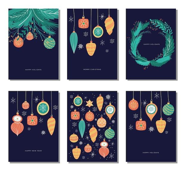 Raccolta di carte di buon natale e felice anno nuovo disegnata a mano con illustrazioni vintage palle di natale decorazione albero di natale