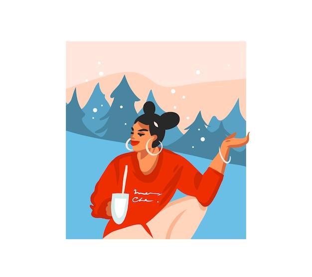 Scheda festiva del fumetto di buon natale e felice anno nuovo disegnato a mano
