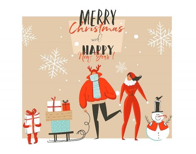 Cartolina d'auguri disegnata a mano di buon natale e felice anno nuovo con illustrazioni di coon con gruppo di persone di famiglia all'aperto, pupazzo di neve e tipografia moderna su priorità bassa bianca