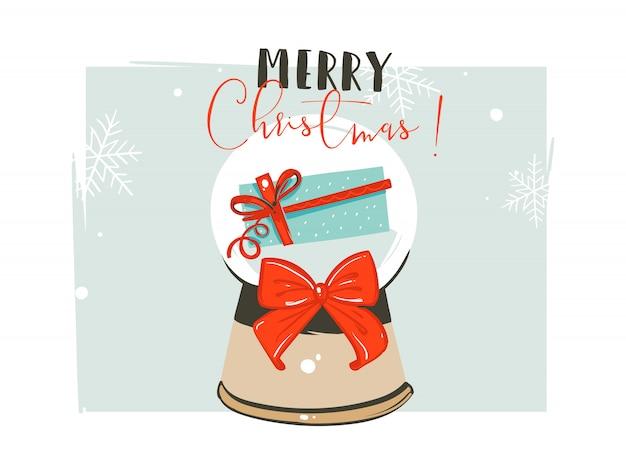 Modello di intestazione di saluto delle illustrazioni di coon di tempo di buon natale e felice anno nuovo disegnato a mano con la sfera della bagattella di natale e il contenitore di regalo di sorpresa su fondo bianco